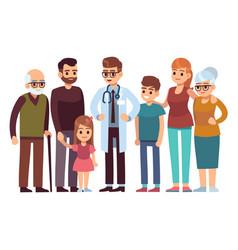 family doctor big happy health family vector image