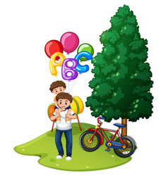 Father and son with balloons in park vector