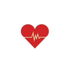 Flat heart with pulse heartbeat icon vector