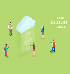 flat isometric concept secure cloud vector image