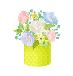 Floral arrangement with rose in box vector