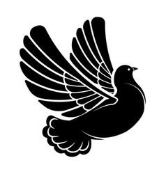 flying dove silhouette pigeon in flight bird vector image