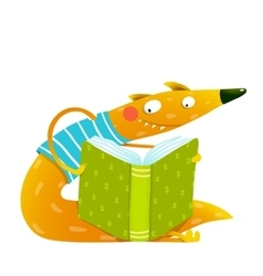 Fun colorful fox reading kids book vector