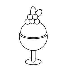 Glass cup ice cream cherry thin line vector