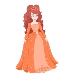 Gorgeous princess in shining peach dress with vector