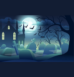 Halloween background with scary castle pumpkins vector