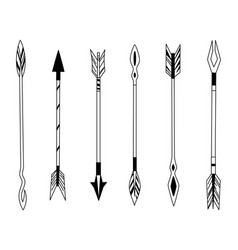 hand drawn feather arrow tribal feathers on vector image