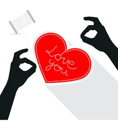Hands Sewing Love You Title on Paper Red Heart vector