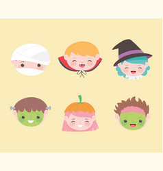 happy halloween kids faces with costume character vector image