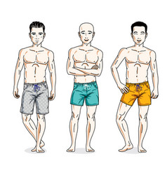 happy men posing with perfect body wearing beach vector image