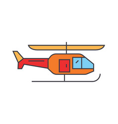 helicopter line icon concept helicopter flat vector image