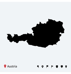 High detailed map of Austria with navigation pins vector