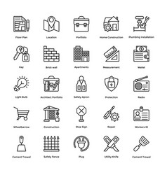 Industrial and construction line icon set 5 vector