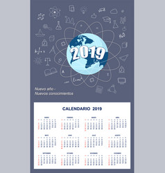 Latin-american student calendar for wall 2019 vector