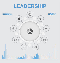 Leadership infographic with icons contains such vector