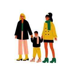 Lesbian family two women and cute boy standing vector