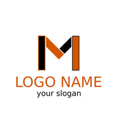 letter m simple logo of black and orange color vector image