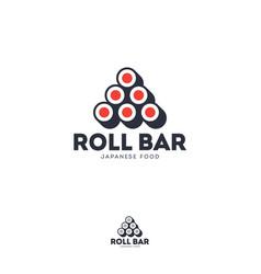 Logo roll bar japanese food emblem vector