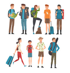 male and female tourists travelling set people vector image