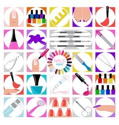 Manicure nail salon Icon set vector image