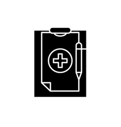 medical diagnosis black icon sign on vector image