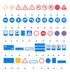mega set cartoon road signs hand-drawn traffic vector image