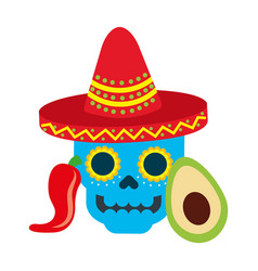 mexican skull with hat avocado and chili pepper vector image