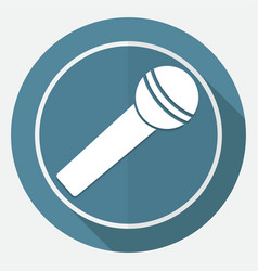 Microphone icon on white circle with a long shadow vector