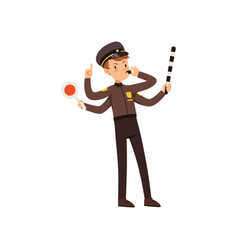 Multitasking police officer character managing vector