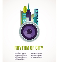 Music city - amplifier and buildings vector image