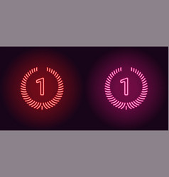 Neon icon of red and pink first place vector