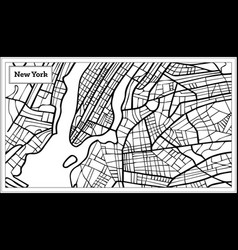 New york usa map in black and white color vector