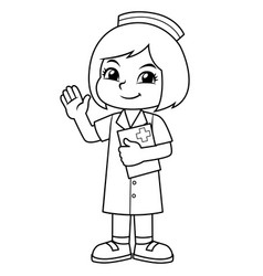 Nurse girl friendly welcoming pose bw vector