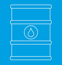 Oil barrel with label icon outline style vector
