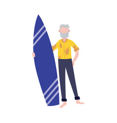 old man in stylish tropical outfit holding surfing vector image