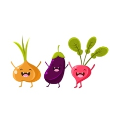Onion Eggplant And Radish Cartoon Friends vector