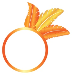 Orange blank frame ring with feathers vector
