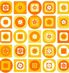 Orange pattern of geometric shapes and flowers vector