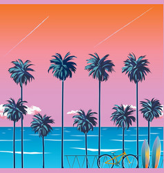Palm trees beach vector