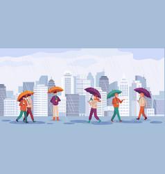 people autumn rain men and women walk or standing vector image
