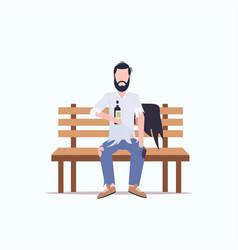 Poor man drunk beggar sitting on wooden bench vector