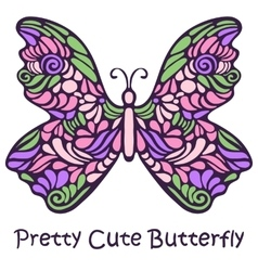 Pretty Cute Hand Drawn Butterfly vector image