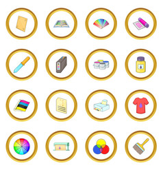 Print process icons circle vector