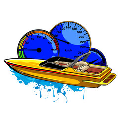 Racing boat top view vector