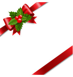 Red ribbon bow with holly berry vector