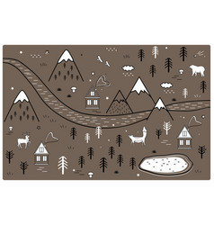 river mountains and woods adventure map with vector image