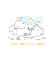 road trip doodle mountain landscape for journey vector image