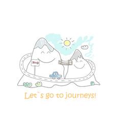 Road trip doodle mountain landscape for journey vector