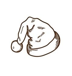 Santas hat sketch vector image