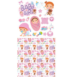 seamless background design with baby girls vector image